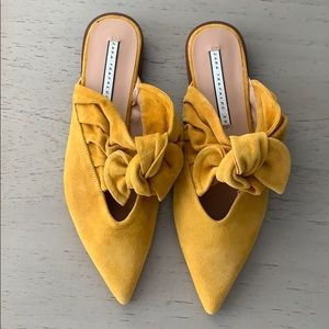 Zara mustard mules with bow